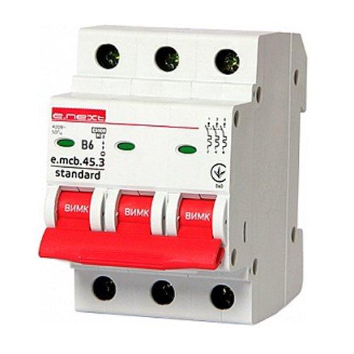 Фото Трёхфазный автоматический выключатель 3р, 6А, В, 4.5 кА, e.mcb.stand.45.3.B6 Электробаза