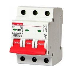 Трёхфазный автоматический выключатель 3р, 16А, В, 4.5 кА, e.mcb.stand.45.3.B16