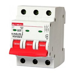 Трёхфазный автоматический выключатель 3р, 20А, В, 4.5 кА, e.mcb.stand.45.3.B20