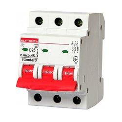 Трёхфазный автоматический выключатель 3р, 25А, В, 4.5 кА, e.mcb.stand.45.3.B25