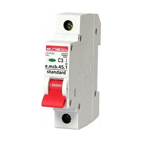 Фото Однополюсный автоматический выключатель 1р, 3А, C, 3,0 кА, e.mcb.stand.45.1.C3 Электробаза