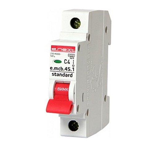 Фото Однополюсный автоматический выключатель 1р, 4А, C, 3,0 кА, e.mcb.stand.45.1.C4 Электробаза