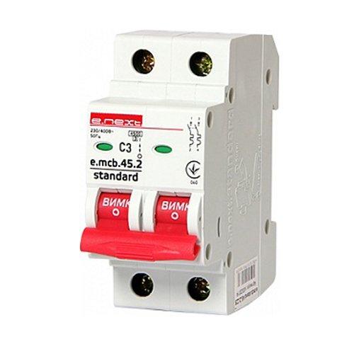Фото Двухполюсный автоматический выключатель 2р, 3А, C, 3,0 кА, e.mcb.stand.45.2.C3 Электробаза