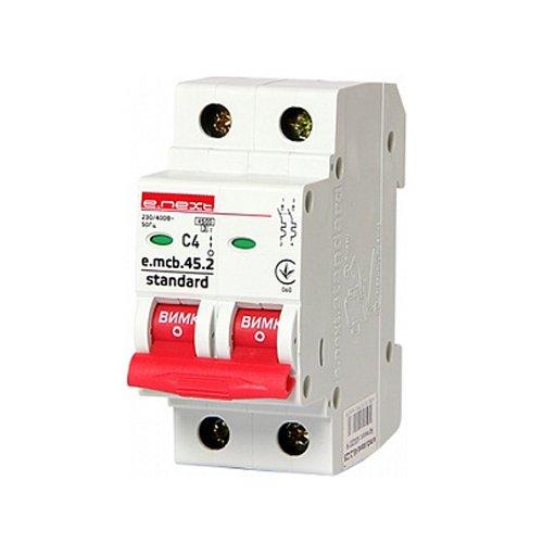 Фото Двухполюсный автоматический выключатель 2р, 4А, C, 3,0 кА, e.mcb.stand.45.2.C4 Электробаза