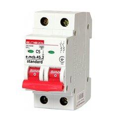 Двухполюсный автоматический выключатель 2р, 5А, C, 4.5 кА, e.mcb.stand.45.2.C5