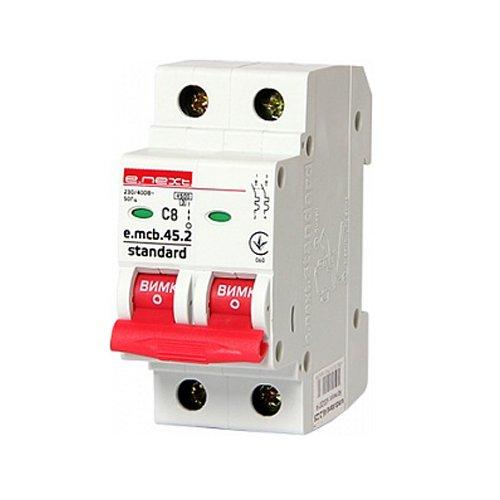 Фото Двухполюсный автоматический выключатель 2р, 8А, C, 4.5 кА, e.mcb.stand.45.2.C8 Электробаза