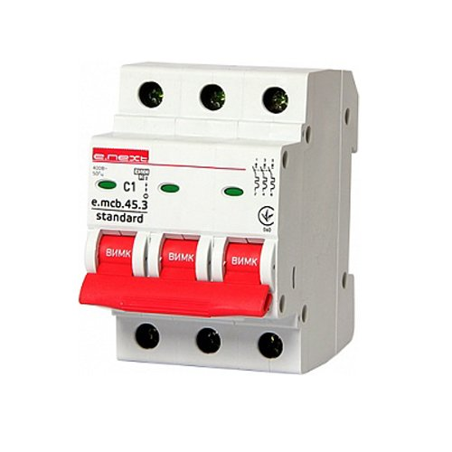 Фото Трёхфазный автоматический выключатель 3р, 1А, C, 3,0 кА, e.mcb.stand.45.3.C1 Электробаза
