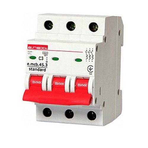 Фото Трёхфазный автоматический выключатель 3р, 3А, C, 3,0 кА, e.mcb.stand.45.3.C3 Электробаза