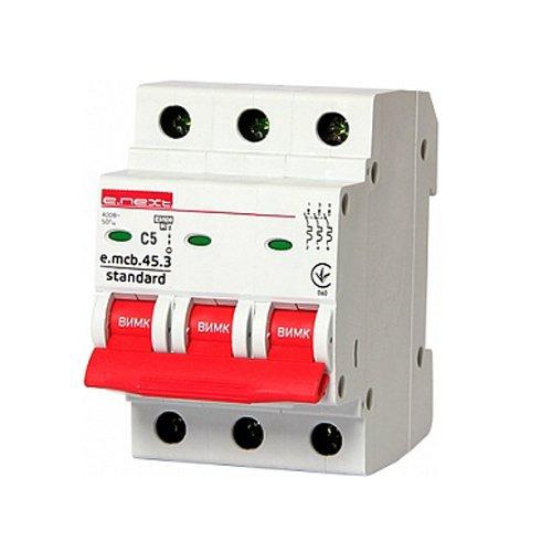 Фото Трёхфазный автоматический выключатель 3р, 5А, C, 4.5 кА, e.mcb.stand.45.3.C5 Электробаза