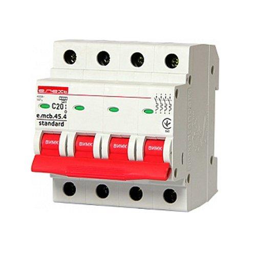 Фото Модульный автоматический выключатель 4р, 20А, C, 4.5 кА, e.mcb.stand.45.4.C20 Электробаза