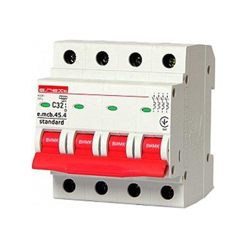 Фото Модульный автоматический выключатель 4р, 32А, C, 4.5 кА, e.mcb.stand.45.4.C32 Электробаза