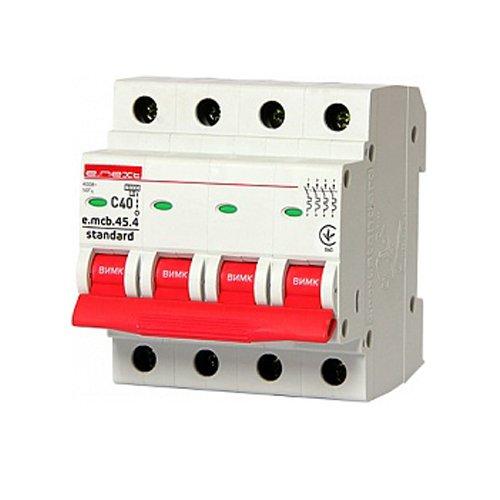 Фото Модульный автоматический выключатель 4р, 40А, C, 3,0 кА, e.mcb.stand.45.4.C40 Электробаза