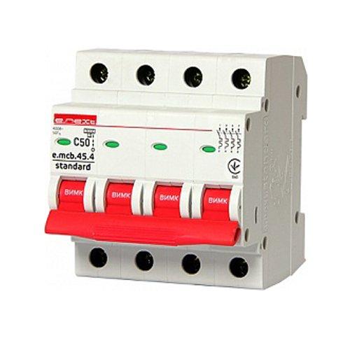 Фото Модульный автоматический выключатель 4р, 50А, C, 3,0 кА, e.mcb.stand.45.4.C50 Электробаза