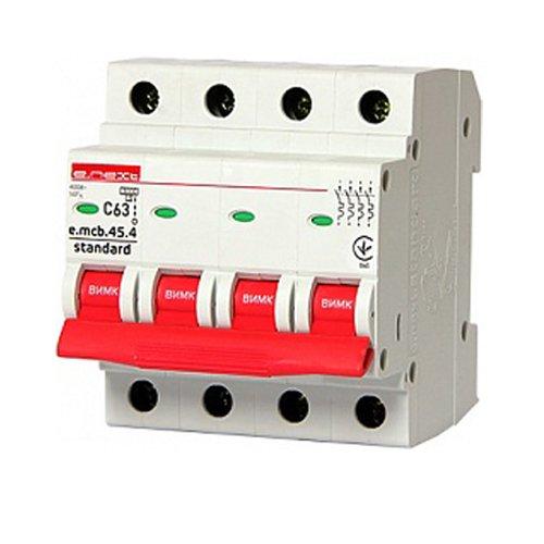 Фото Модульный автоматический выключатель 4р, 63А, C, 3,0 кА, e.mcb.stand.45.4.C63 Электробаза