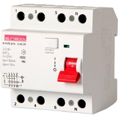Фото Выключатель дифференциального тока, 4р, 40А, 30мА e.rccb.pro.4.40.30 Электробаза