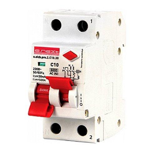 Фото Дифферинциальный автоматический выключатель 2р, 10А, C, 30мА e.elcb.pro.2.C10.30 Электробаза