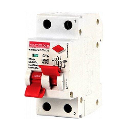 Фото Дифферинциальный автоматический выключатель 2р, 16А, C, 30мА e.elcb.pro.2.C16.30 Электробаза
