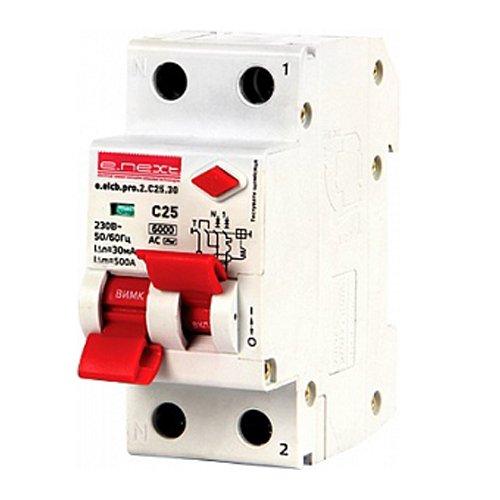 Фото Дифферинциальный автоматический выключатель 2р, 25А, C, 30мА e.elcb.pro.2.C25.30 Электробаза
