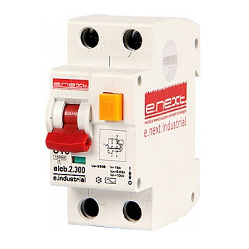 Фото Дифферинциальный автоматический выключатель 2р, 16А, С, 300мА e.industrial.elcb.2.C16.300 Электробаза