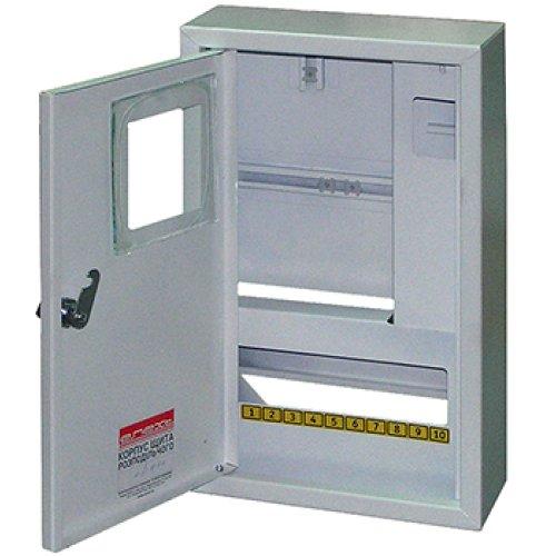 Фото Щит учёта электрический металл под 3-ф. электронный счетчик 12 мод. накладной с замком e.mbox.stand.n.f3.12.z.e Электробаза