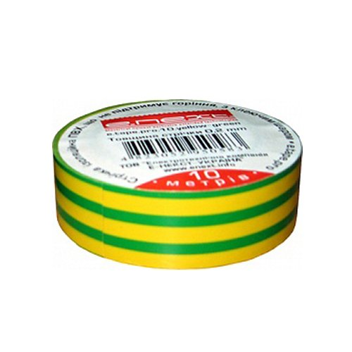 Фото Изолента из самозатухающего ПВХ, желто-зеленая, 10м, e.tape.pro.10.yellow-green Электробаза