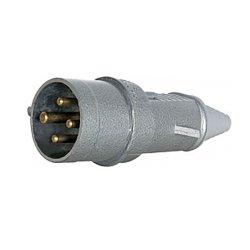 Вилка силовая, переносная, металлическая, 3Р+Z, 400В, 16А, IP44