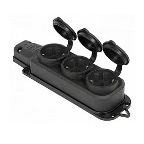 Фото Розетка с защитной крышкой 16А, тройная, с з/к, e.socket.rubber.029.3.16 Электробаза