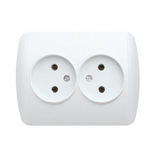 Фото Розетка электрическая без з/к двойная e.install.stand.810D Электробаза