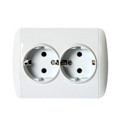 Розетка c заземлением двойная с рамкой e.install.stand.810DB