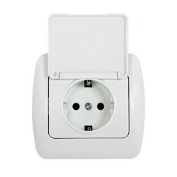 Розетка с з/к с крышкой и рамкой e.install.stand.810С