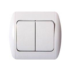Выключатель встраиваемый двухклавишный c рамкой e.install.stand.812
