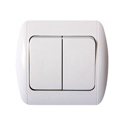 Фото Выключатель встраиваемый двухклавишный c рамкой e.install.stand.812 Электробаза