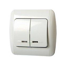 Выключатель двухклавишный встраиваемый с подсветкой с рамкой e.install.stand.812L