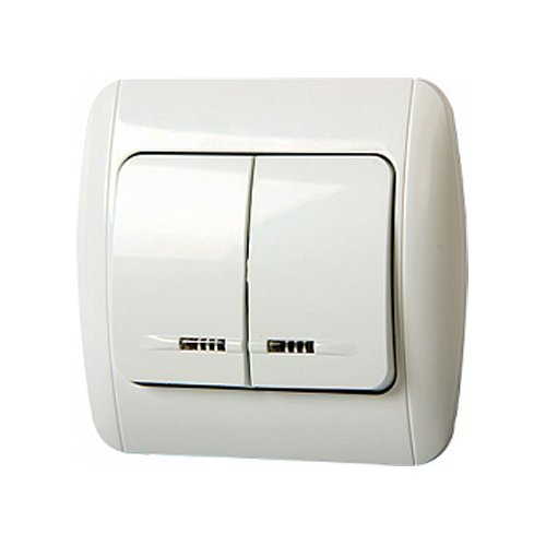 Фото Выключатель двухклавишный встраиваемый с подсветкой с рамкой e.install.stand.812L Электробаза