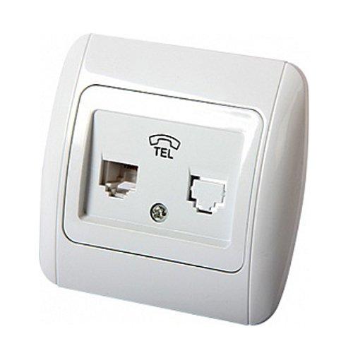 Фото Розетка телефонная 1-я с рамкой e.install.stand.814P1 Электробаза