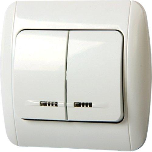 Фото Выключатель встраиваемый двухклавишный с подсветкой с рамкой e.install.stand.812L+f.cer Электробаза