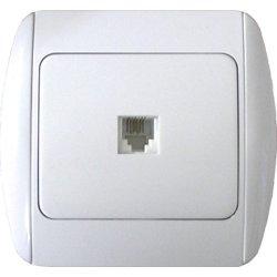 Розетка телефонная одинарная с рамкой e.install.stand.814P1+f.cer