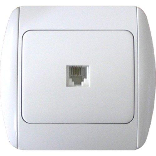 Фото Розетка телефонная одинарная с рамкой e.install.stand.814P1+f.cer Электробаза