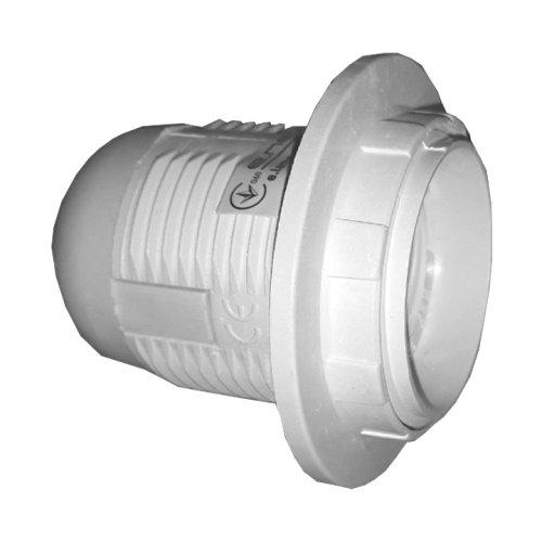 Фото Цоколь Е27 пластиковый с гайкой белый e.lamp socket with nut.E27.pl.white Электробаза