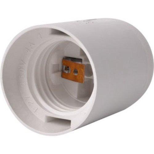 Фото Цоколь Е27 пластиковый белый e.lamp socket.E27.pl.white Электробаза