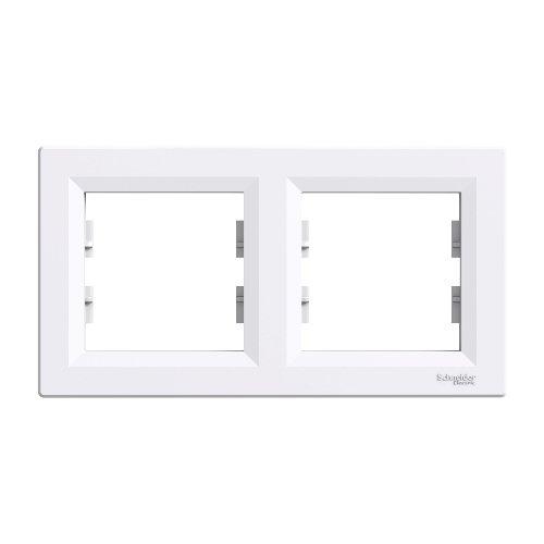 Фото Рамка для розеток шнайдер ASFORA двойная 2я горизонтальяная белая Электробаза