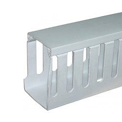 Короб для проводов пластиковый, перфорированный, 100х100 мм, 2м, голубой, e.trunking.perf.stand.100.100