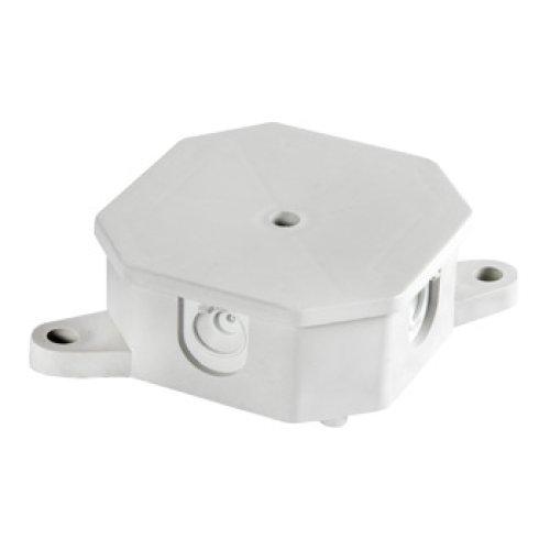 Фото Монтажная коробка с клемной колодкой, 85х85х35 мм, IP 44, Р 2, внешняя e.db.stand.r2.85x85x35K Электробаза