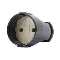 Розетка переносная 10А, без з/к, черная, e.socket.001.10.bla