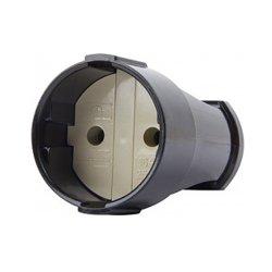 Розетка переносная 10А, без з/к, черная, e.socket.001.10.black
