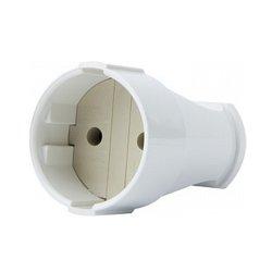 Розетка переносная 10А, без з/к, белая, e.socket.001.10.white