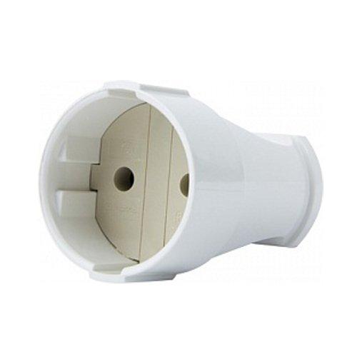 Фото Розетка переносная 10А, без з/к, белая, e.socket.001.10.white Электробаза