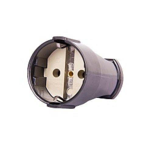 Фото Розетка переносная 16А, с з/к, черная, e.socket.003.16.black Электробаза