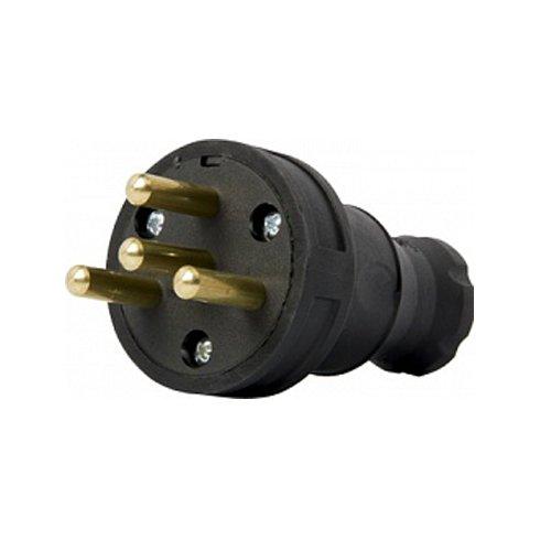 Фото Вилка силовая, переносная, каучуковая, 4п., 400В, 25А, e.plug.rubber.030.25 Электробаза