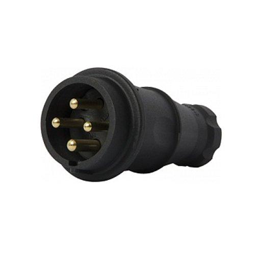 Фото Вилка силовая, переносная, каучуковая, 4п., 400В, 16А, e.plug.rubber.060.16 Электробаза